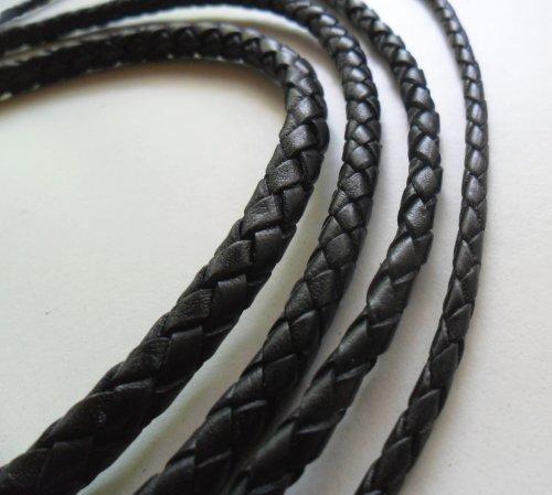 AURORIS - Lederband geflochten - Durchmesser/Farbe/Länge wählbar - Variante: Ø 3mm / schwarz / 1m