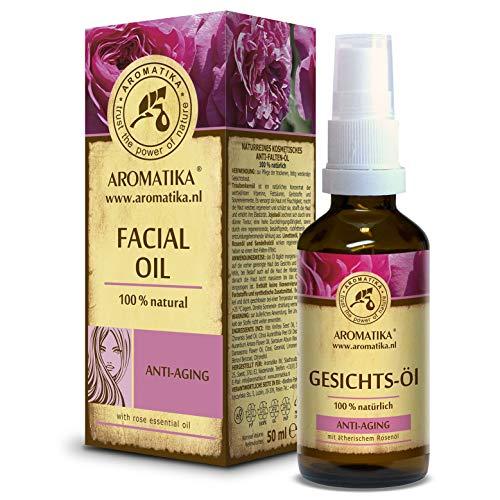 Aceite Facial 50ml - 100% Puro y Natural - Aceite Facial con Aceite de Jojoba y Rosa - Cuidado Rejuvenecedor para Todo Tipo de Piel - Cosméticos Naturales - Aceites Corporales Sin Conservativos