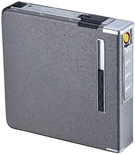 RDJSHOP Caja de Cigarrillos con Encendedor, USB Recargable Caja de Cigarrillos ElectróNicos para Mujer para Almacenar 20 Piezas de Cigarrillos Delgados,Grey