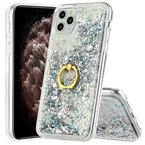 Hancda - Carcasa líquida para iPhone 12 Pro Max (6,7 pulgadas), carcasa con purpurina líquida, transparente, silicona dura, con anillo de soporte, color plateado