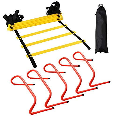 12 Rung Agility Training Ladder Kit – with A Carry Bag, Extra 5pcs of 6 Inch Speed Hurdles– All Purpose Football Soccer Agility Training Fitness Equipment
