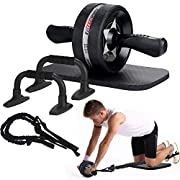 #LightningDeal EnterSports Ab Roller Wheel, 6-in-1 Ab Roller Kit with Knee Pad, Resistance Bands, Pad Push Up Bars Handles Grips , Perfect Home Gym Equipment for Men Women Abdominal Exercise