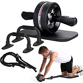 EnterSports AB Wheel Roller 6-in-1 Exercise Roller Wheel Kit with Knee Pad Resistance Bands Pad Push Up Bars Handles Grips  Perfect Home Gym Equipment for Men Women Abdominal Roller