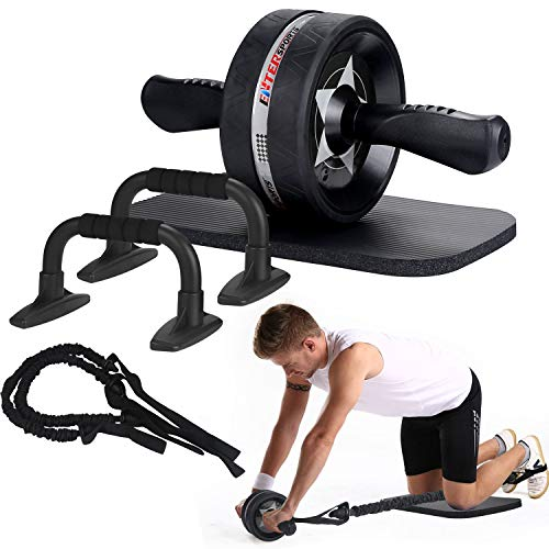 EnterSports Rodillo de rueda AB, 6 en 1 con almohadilla para la rodilla, bandas de resistencia, barras de empuje para empujar hacia arriba, agarraderas, equipo perfecto para gimnasio en casa para hombres y mujeres