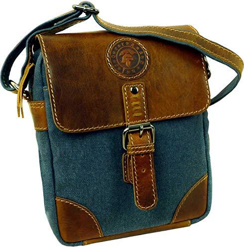 LandLeder Sailcloth Jeans-Tasche Umhängetasche Messenger-Bag Crossbody-Bag 100 Prozent Cotton-Canvas Denim-Style mit handgefärbten Rindsleder-Applikationen