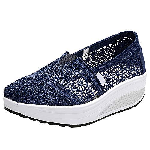 Zapatillas Balancin Mujer Tejer Cordón Ponerse Cuña Comodas Casual Zapatos para Caminar(Armada,36 EU)