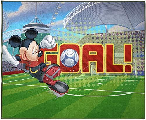 Jay Franco Disney Mickey Mouse Strike, Curve, Goal Kids Room Rug - Large Area Rug Measures 4 x 5 Feet (Offical Disney Product)