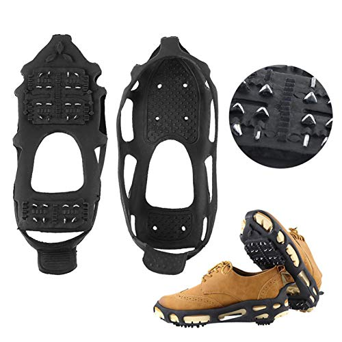 Crampones Tacos para Hielo, Puños para Hielo Tacos De Tracción Agarres Antideslizantes sobre Calzado/Bota con Sistema De 24 Picos Protección Segura, para Caminatas Caminar sobre Nieve Y Hielo