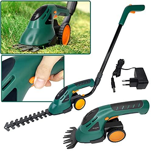 2-in-1 Akku Grasschere Strauchschere mit Räder und Griff, 7,2V Elektrisch Grasschere inkl. Akku und Ladegerät, Rasenmäher zum Trimmen von Hecken, Gras und Büschen