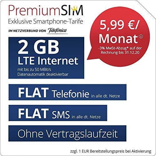 Handyvertrag PremiumSIM LTE S - ohne Vertragslaufzeit (FLAT Internet 2 GB LTE mit max. 50 MBit/s mit deaktivierbarer Datenautomatik, FLAT Telefonie, FLAT SMS und EU-Ausland, 5,99 Euro/Monat)