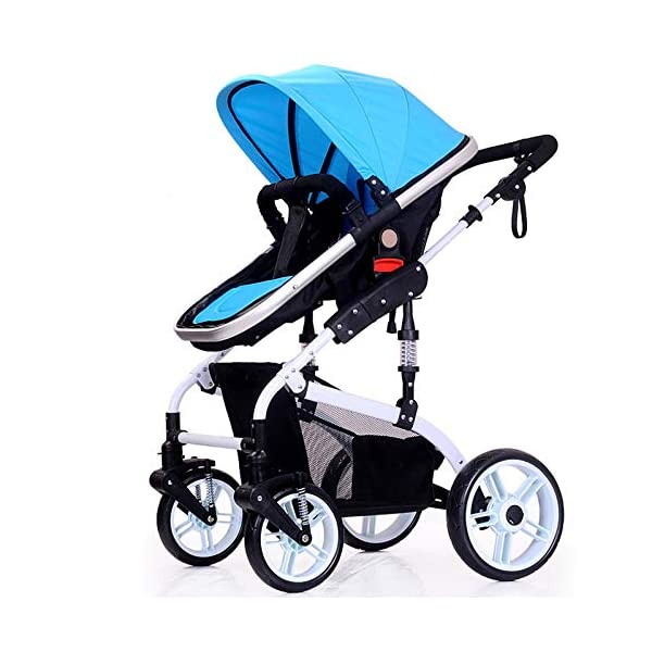 JXCC Baby Stroller Ultra Light Folding Child Shock Absorber Trolley Can Sit Half Lying 0-3 years old,25kg maximum -Safe And Stylish Blue JXCC 1.{All seasons} - Three-sided leaky net design, the awning can be adjusted at multiple angles, easy to cope with the sun 2.{75CM high landscape} - Baby can stay away from the surface heat, car exhaust, for the health of the baby 3.{3D stereo shock} - X-frame setting, evenly dispersing the upper weight, rear wheel two-wheel brake 1