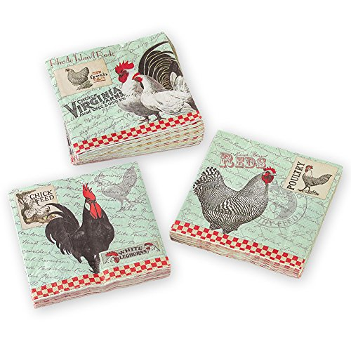 "Vintage Style Rooster Theme Kitchen Paper Napkins, 13"" Sq - 60 Count"