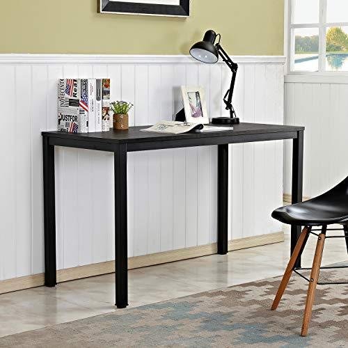 sogesfurniture BHEU-LD-AC120BW biurko komputerowe, 120 x 60 cm, stół roboczy, stół do jadalni z drewna i stali, łatwy montaż, kolor czarny