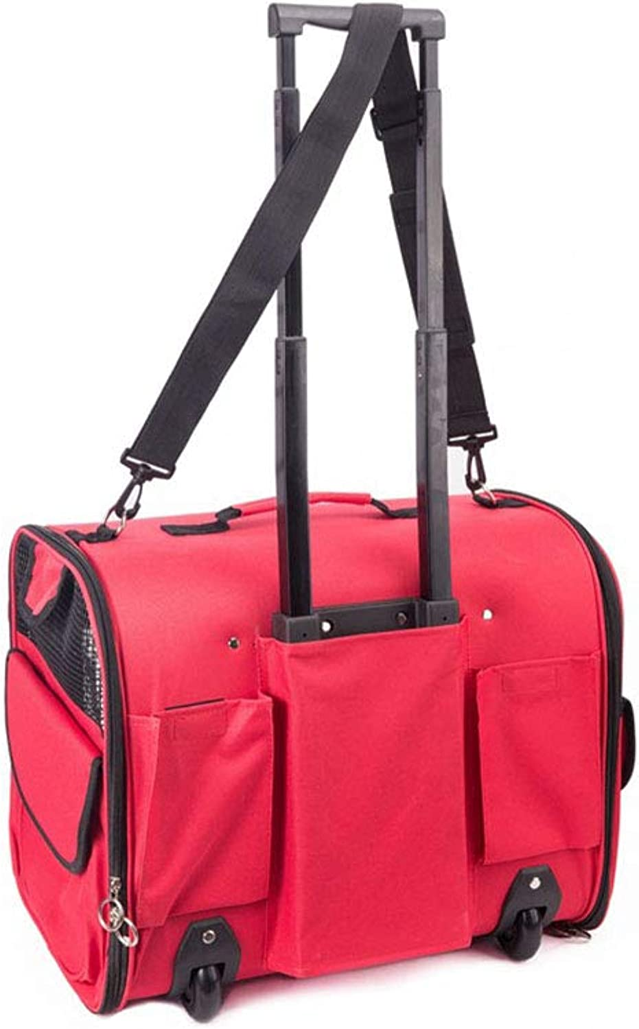 Pet Trolley Case, Multifunction Extended Edition Warm Breathable Lightweight Pet Travel Bag Roller Trolley Case, Pet Supplies,Red