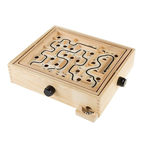 Labyrinth Wooden Maze Game with Two Steel Marbles Puzzle Game for Adults Boys and Girls by Hey Play