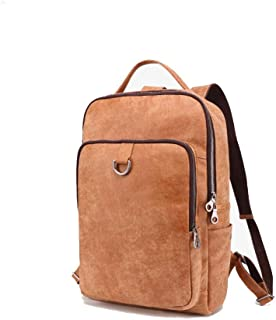 Fashion Leather Backpack Outdoor Mens Bag College Backpack for Men Large-Capacity Travel and Leisure Bag (Color : Brown, Size : S)
