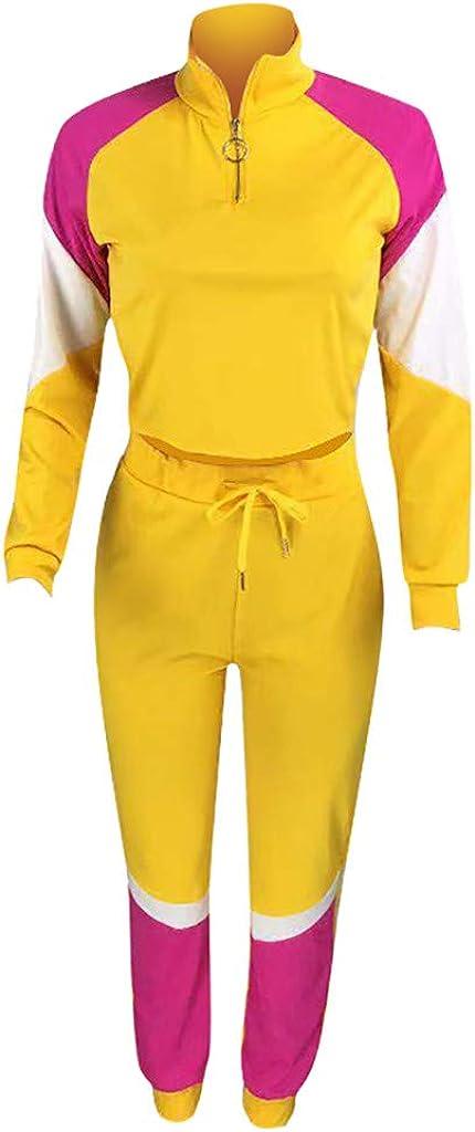 ✤ HebeTop ✤ Women's Casual 2 Piece Tracksuit Patchwork Long Sleeve Crop Top and Pants Set