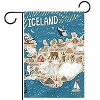 ウェルカムガーデンフラッグ(28x40inch)両面垂直ヤード屋外装飾,アイスランド