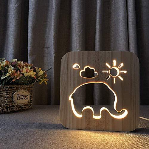 L-YINGZON Elefante creativo decorativo Lámpara de mesa de madera luz de la noche hueco 3D LED USB del dormitorio del sitio de niños de cumpleaños de 19 * 19 cm de escritorio simple romántica Luces noc