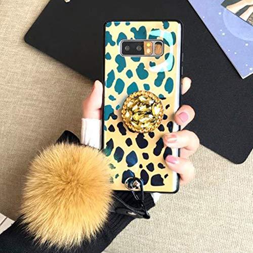 Aulzaju Schutzhülle für Samsung mit Fellball-Design, luxuriös, glänzender Marmor-Stil, stoßfest, Hybrid-Schutzhülle für Mädchen und Frauen Samsung Galaxy S10e Leopard