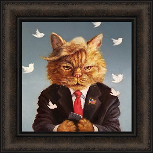 Home Cabin Décor Catty Remarks by Lucia Heffernan 16x16 Orange Cat President Trump Comb Over Hair Twitter Tweet Funny Humorous Pet Framed Animal Art Print Picture