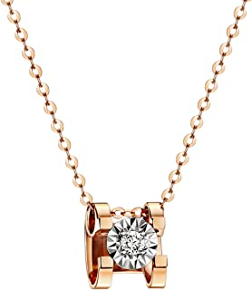 18K Rose Gold Diamond(0.03 ct, Color D, VVS) Pendant Necklace for Women 18