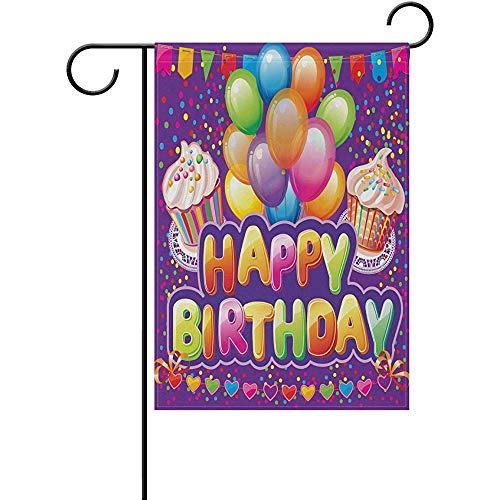 Yard Banner Alles Gute Zum Geburtstag Garten Flagge Doppelseitige Hause Dekorative Magie Gruß Cupcakes Luftballons Haus Hof Flagge Zoll Urlaub Party Outdoor Flagge Beste Geburtstagsgeschenk 32X48