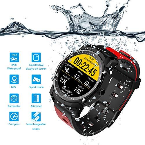 smart watch FS08 Armband, wasserdichter GPS-Sport-Fitness-Tracker für Herren, Stoppuhr-Herzfrequenz-Überwachungsuhr-Kompass, für Android und iOS