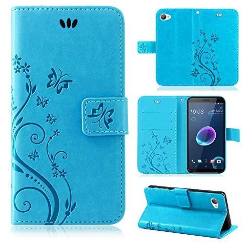 betterfon | Flower Hülle Handytasche Schutzhülle Blumen Klapptasche Handyhülle Handy Schale für HTC Desire 12 Blau