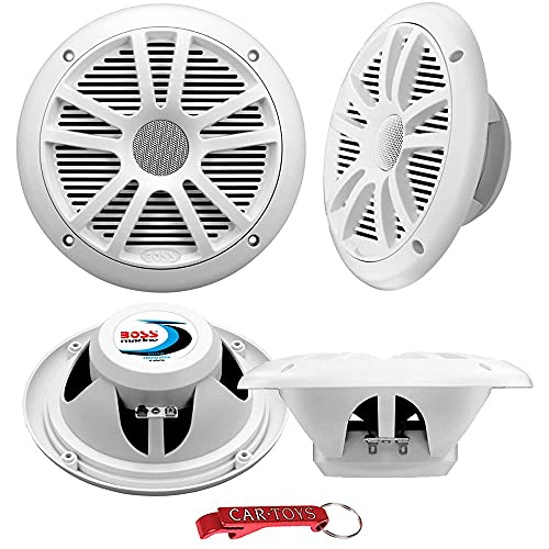 BOSS Audio Systems MR6W Marine Speakers Surround Sound 4-Pack, 180 Watt Per Pair, 6.5 Inch, Full Range, 2 Way Weatherproof Marine Speakers for Boat or Powersports Vehicles, Grilles Included