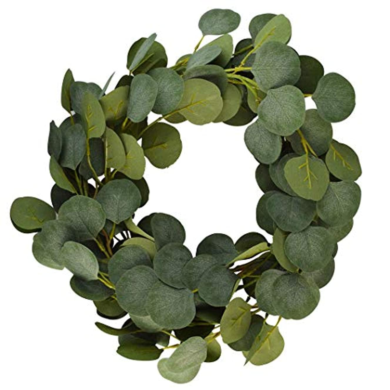 mifengda Artificial Vines Faux Silk Eucalyptus Garland Greenery Fake Hanging Plant for Home Garden Office Table Festival Party Wedding Backdrop Arch Wall Decor (6.56FT, 142 Leaves, Green)