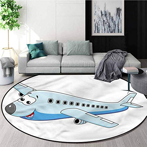 Best Deals! RUGSMAT Boys Room Modern Machine Washable Round Bath Mat,Commercial Airplane Green Soft ...