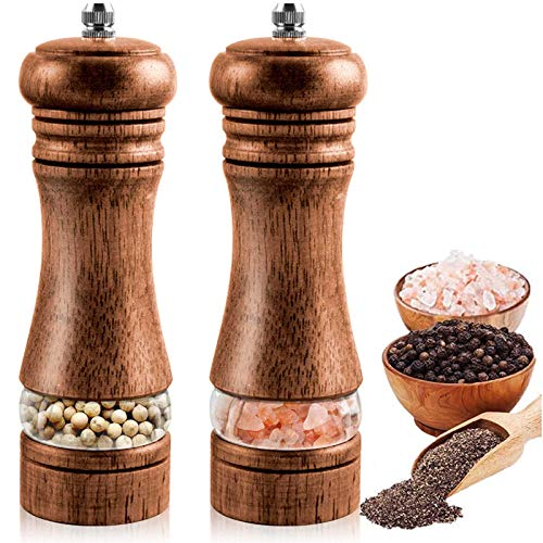 PremiumSalt and Pepper Grinder Set, Wood Manual Refillable Salt and Pepper Shakers, with Adjustable Coarseness Ceramic Grinder, 6.5 Inch Acrylic Spice Mill, for Sea Salt, Chili, Sesame (2Pack)