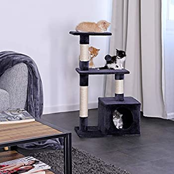 lionto by dibea Arbre à chat arbre à grimper griffoir pour chat hauteur 85 cm Gris foncé