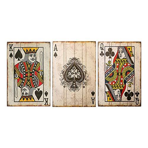 CHMIJ Impresión en Lienzo Vintage Poker Naipes Carteles e Impresiones Arte de la Pared Bar Pub Decoración de la Pared Imágenes para el diseño del hogar 60x80cmx3 Sin Marco