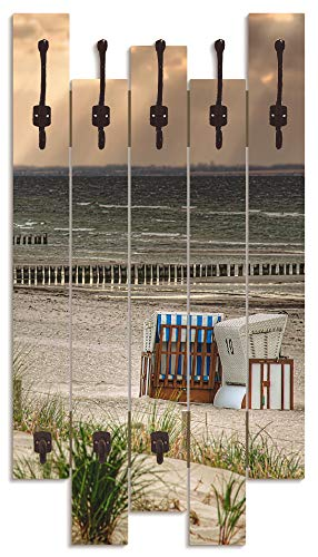 Artland Wandgarderobe Holz Design mit 8 Haken Garderobe Paneel mit Motiv 63x114 cm Natur Dünen Strand Meer Strandkorb Insel Ostsee T9ER