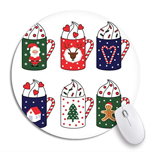Rundes Mauspad Weihnachten Niedliche heiße Tassen Weihnachtsmann Hirsch Zuckerstange rutschfeste Gummibasis Mausmatte Gaming Mousepad für Computer