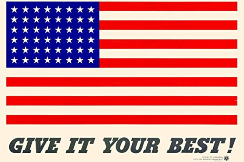 Poster Foundry WPA War Propaganda Give It Your Best American Flag WWII Stretched Canvas Wall Art 24x16 inch