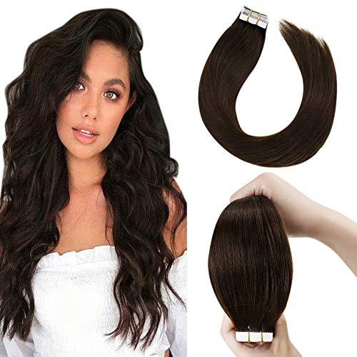 LaaVoo 24 Pollice 20Pezzo Tape in Hair Extensions Vero Capelli Fascia Invisible Biadesivo Veri Lunghi Great Lengths Marrone Scuro #2 50 Grammo per Pacco