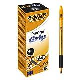 Bic Orange Grip Ball Pen Translucent Barrel 0.8mm Tip 0.2mm Line Black Ref 811925 [Pack 20]