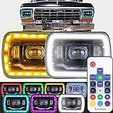 7X6 Headlights Black RGB MULTI COLOR LED SMD Halo 7X6 H6014/H6052/H6054 SET PAIR LOW HIGH BEAM SEALED