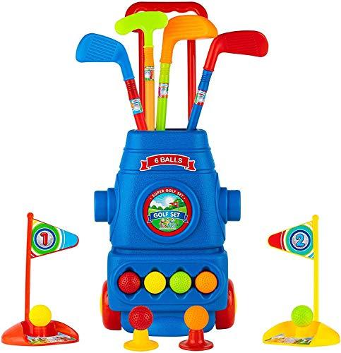 Otes Kinder Golf Spielzeug Club Set, Golfwagen mit Rädern, Schlagmatte und handgehaltenem Zuggriff, 16 Stück Golfspielzeug Indoor & Outdoor Garden Sportgeschenk für Jungen Mädchen 3+