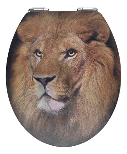 Price comparison product image WENKO Lion with 3D Effect-Toilet seat with Soft Closing Mechanism,  rustproof Fix-Clip hygienic zinc Pressure cast mounting Element,  MDF,  Multicoloured,  45 x 38 x 0.1 cm
