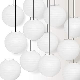 Quasimoon Paperlanternstore.com 12 Pack - 12 Inch White Even Ribbing Round Paper Lantern, Hanging Combo Set