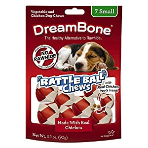 DreamBone RattleBall Small Chews 7 Count, Rawhide-Free Chews For Dogs, With Real Chicken Treats Inside