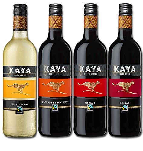 Kaya Südafrika Quartett Fairtrade Wein Probierpaket Trocken (4 x 0.75l) Rotwein Weißwein ideal zum Grillabend