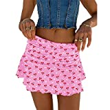ZZEVOLSS Y2k Mini Skirts for Women Tie Dye Ruched Tennis Skirt Girls Summer Sexy A Line Skirt 90s Fashion Street Wear(2-Pink,S)
