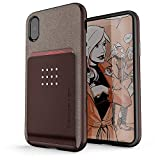 Ghostek Exec Magnetic Wallet Case Works with Car Mounts Designed for iPhone X XS - Brown