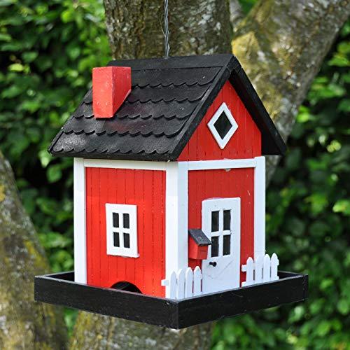 VOSS.garden Dänisches Futterhaus Skagen in Rot, zum Aufhängen, Schwedenhaus-Design, Wetterbeständig, Vogelhaus Vogelfutterspender Vogelfutterstation Vogelhäuschen