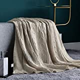 jinchan JINCAHN Throw Blanket Taupe Lightweight Cable Knit Sweater Style Year Round Gift Indoor Outdoor Travel Accent Throw for Sofa Comforter Couch Bed Recliner Living Room Bedroom Decor 50x60 Inch